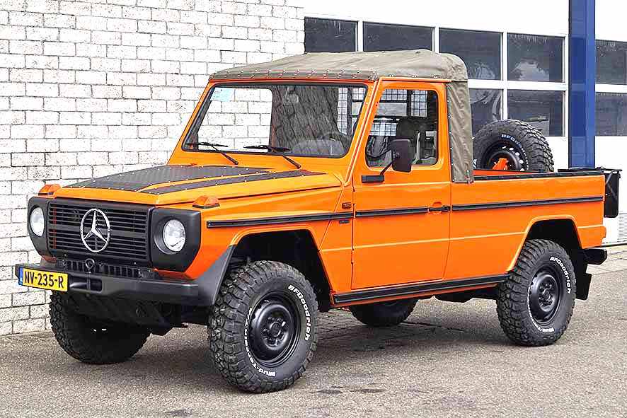 Large stock Mercedes 230 GE pick-ups 4x4